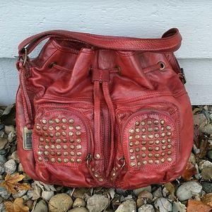 Frye Brooke Burnt Red Studded Leather Drawstring